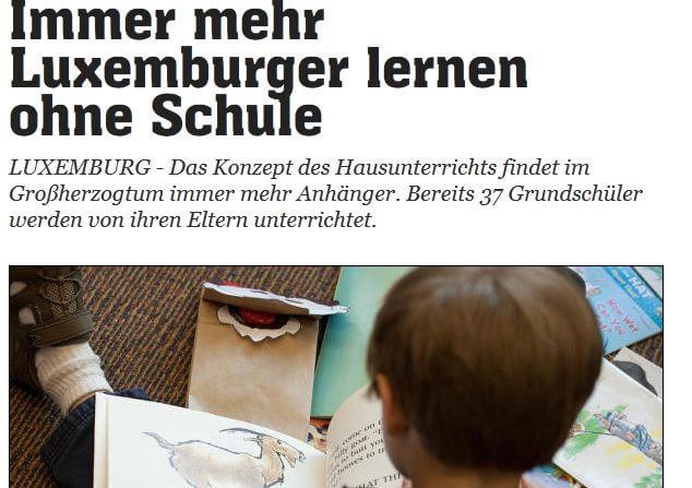 Artikel in L'essentiel, Immer mehr Luxemburger lernen ohne Schule
