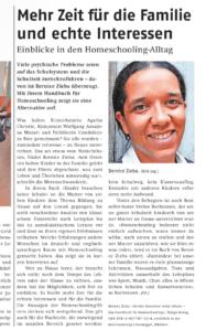 Bernice Zieba: Kinder brauchen keine Schule, Homeschool-Handbuch, Artikel im Affoltern Anzeiger