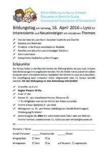 Bildungstag am Samstag, 16. April 2016 in Lyss